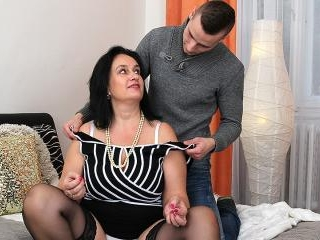 Big breasted chubby housewife doing her toy boy