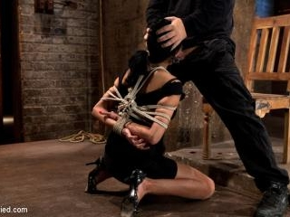 Sexy Cougar is bound, and brutally skull fucked Ha