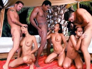 Night Time Interracial DP Orgy with Lara Stevens,