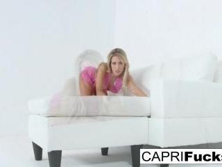 Capri Cavanni plays with a dildo