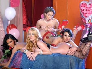 4 girls get together for a Valentine\'s orgy