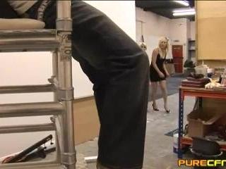 Workman Gets Stuck