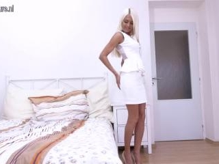 Hot steamy British mom playing on her bed