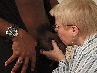 Granny interracial blowjob, hardcore action