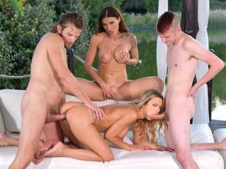 Risque Romanian & Russian Cougars Seduce Young Dud