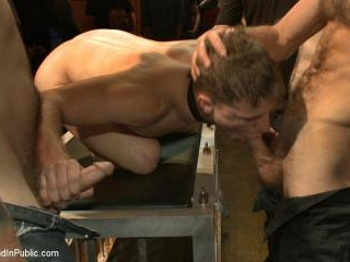 Wax and Gang Bang a Muscled Stud with a Fat Cock