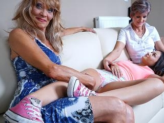 Three naughty old and young lesbians lick and get