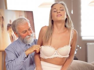 Middle-aged teacher and student have good time at