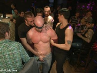 Muscle stud Mitch Vaughn tied up and used in a pub