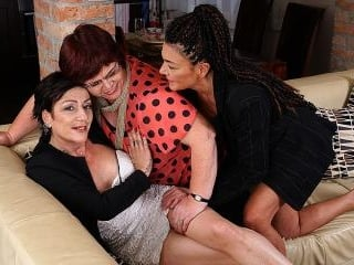 Three mature lesbians getting wet on the couch
