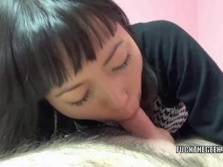 Petite Asian wife Yuka Ozaki is on top of a lucky