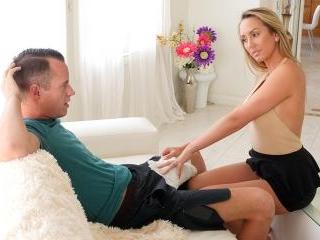 Horny Stepmom Massages Stepson\'s Huge Cock