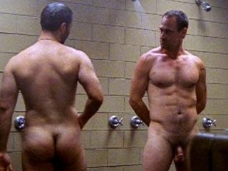 Christopher lets it all hang out in the shower wit