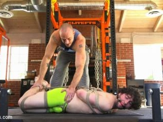 Bound gym whore gets the cum fucked right out of h
