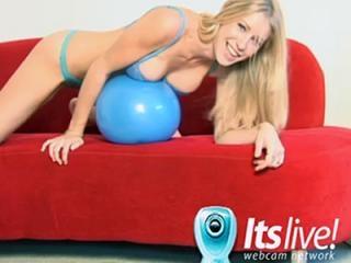Lingerie clad camgirl on webcam