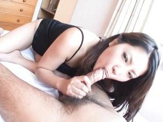 Kinky Asain hottie Saya gives her man a footjob an