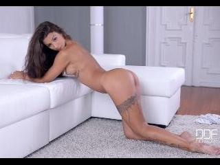 Spanish Brunette Strips Booty Shorts for Curvy Ass