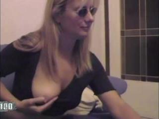 Hot blonde milf masturbating in front of her noteb