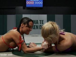 Blond Amazon destroy & humiliates Sexy Hawaiian on