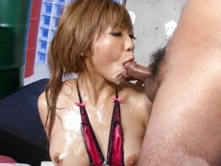 Oiled up Hazuki Rui gobbles dick after dick her ch