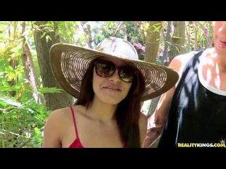 Chris brings Ava  a hot latina  to the park to enj