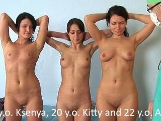 Humiliating group gyno exam of three bad students