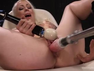Blonde Goddess is Double Penetrated with Machines!