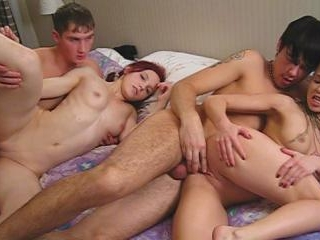 Four students play strip poker and fuck