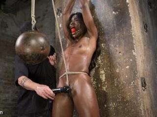 Stunning Ebony Slut in Brutal Bondage and Tormente