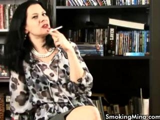 Smoking Mina tease her body while smoking