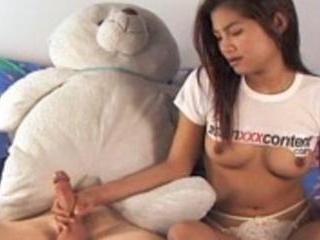 Perky tits asian cutie sucks and fucked from behin