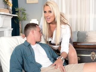 Tall, blonde MILF\'s first XXX
