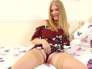 Big breasted British housewife getting wet and wil