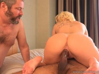 Blonde Wife Gets Creampie and Husband Eats It Clea