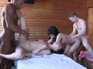 Hot fucking in a sauna