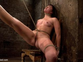 18yr old is bound to the chairNeck rope limits her