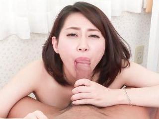 Ameri Koshikawa sucks whole cock in superb POV