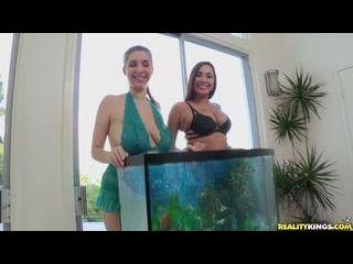 2 big titty women take turns with the same raw dic
