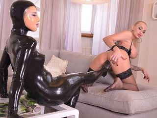 Latex Licking - Lesbians Cram Their Pussies With S