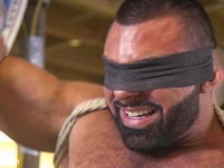 Beefy mechanic taken down & edged against his will