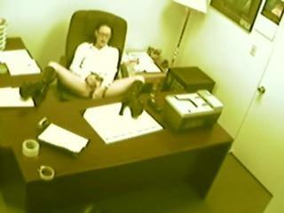 Secretary rubbing slit in the office!
