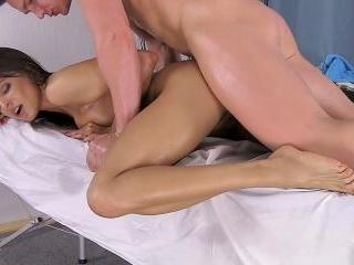 Delicious cute brunette gets slammed during massag