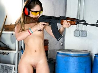 Dirty Blonde White Girl Shoots Guns and Sucks Dick