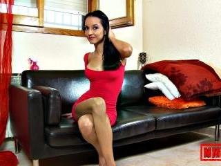 Pretty brunette Francys Belle removing clothes alo