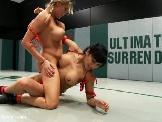 2 hot rookies battle it out. Huge breasts, tight a