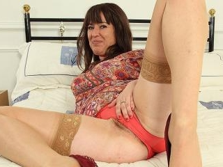 Hairy British housewife playing with her pussy