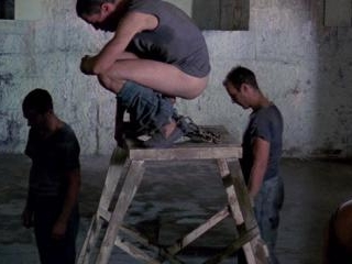 James is forced to squat on a ladder in the middle