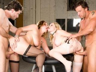 Busty babes sharing
