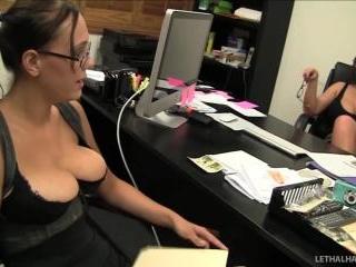 pornstars Eva Notty and Alexia Rae explore each ot