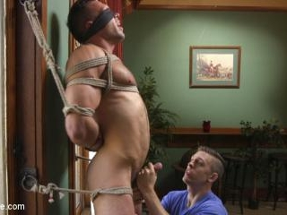 Furry Muscular Stud is Bound and Edged on a Pool T